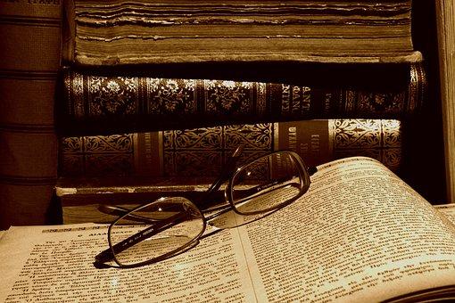 Glasses, Books, Old, Read, Library, Literature