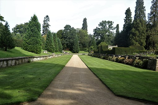 Chatsworth House, Path, Garden, Lawn, Nature