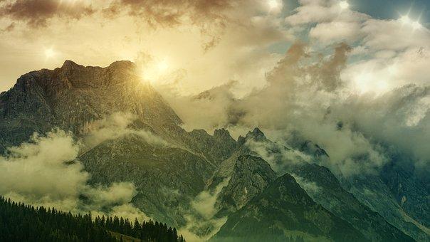 Alpine, Sun Clouds, Evening, Nature, Sunset, Landscape