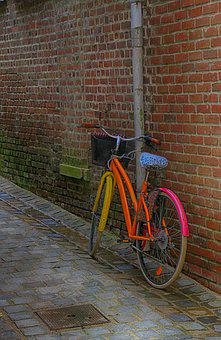 Bike, Multicolor, Lane, Paved, Pavers, Only, Wall