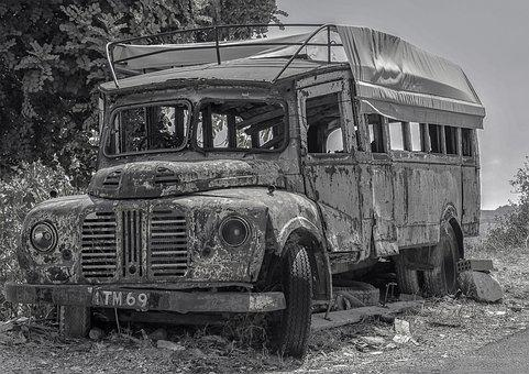 Bus, Wrecked, Automobile, Vehicle, Transportation, Rust