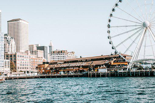 Seattle, Washington, Ferris Wheel, Great Wheel, Skyline
