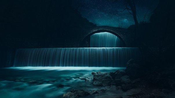 Waterfall, River, Old Bridge, Water, Nature, Stream