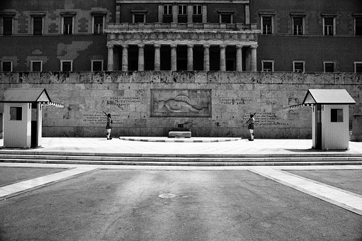 Syntagma, Black And White, Summer, Evzone, Parliament