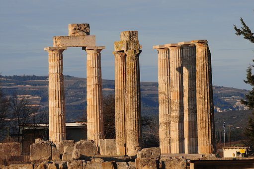 Temple, Greece, Column, Ruins, Sunset, History, Travel