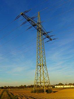 Strommast, Arable, Field, Landscape, Power Poles, Sky