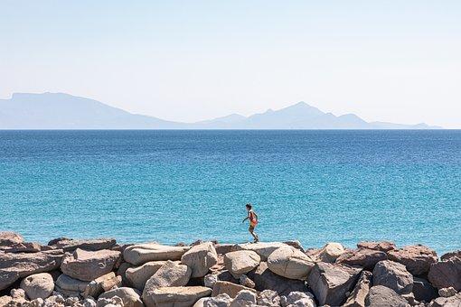 Child, Boy, Running, Playing, Sea, Water, Coast
