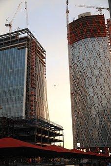 London, Canary Wharf, Architecture, Development, Sunset