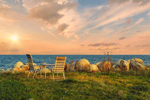 Table, Chair, Vacations, Camping, Sunset, Afterglow