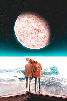 Planet, Couple, Guy, Girl, Ball, Land, Orbit, Sky