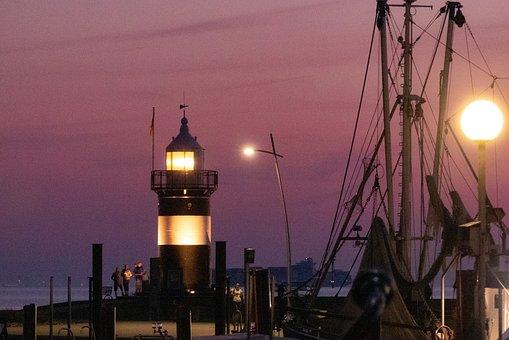 Abendstimmung, Lighthouse, Beacon, Daymark, North Sea