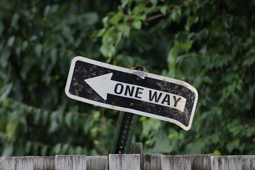 Sign, One Way, Old, Rusted, Bent, Direction, Decisions