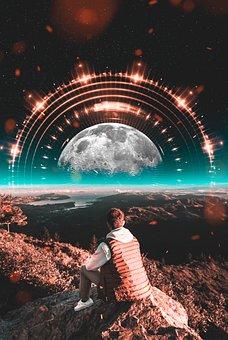 Moon, Photoshop, Fantasy, Boy, Guy, Man, Mountains