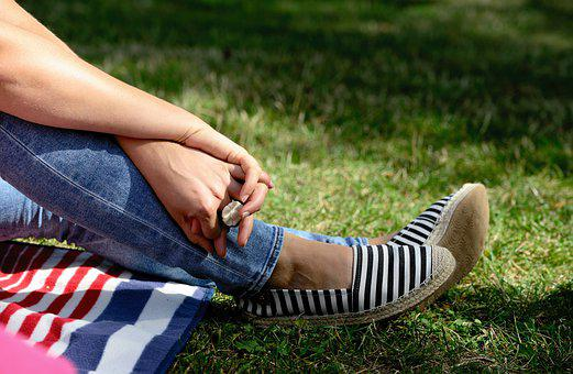 Hands, Meadow, Grass, Relax, Feet, Shoes, Human, Sit