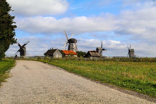 Field, Windmills, Mill, Old Mill, Dutch Wind Mill