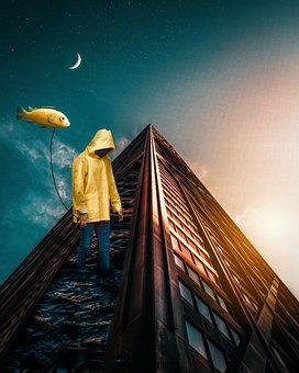 Fantasy, Photoshop, Boy, Hood, Yellow, Building, Moon