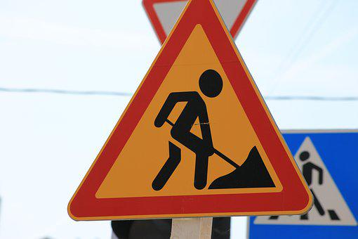 Road Sign, Road Works, Pointer, Attention, Warning