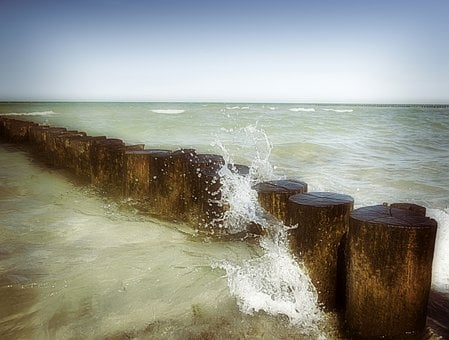 Groynes, Wave, Wave Motion, Movement, Spray, Water