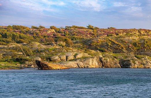 Water, Lake, Sea, Wreck, Coast, Beach, Rock, Stones