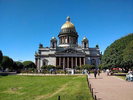 Sankt Petersburg, Cathedral, Summer, Sky, Architecture