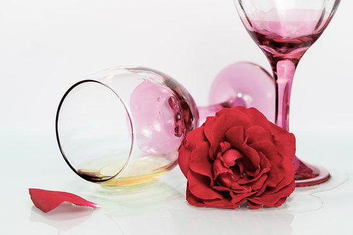 Glass, Champagne, Wine, Flower, Beverages