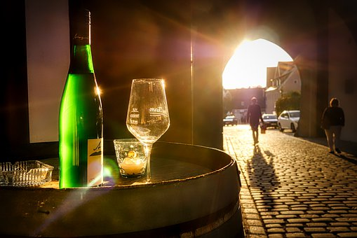 Wine, City Gate, Sunset, Evening, Glass, Restaurant