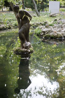 Sculpture, Metal, Art, Woman, Bent Over, Lake, Water