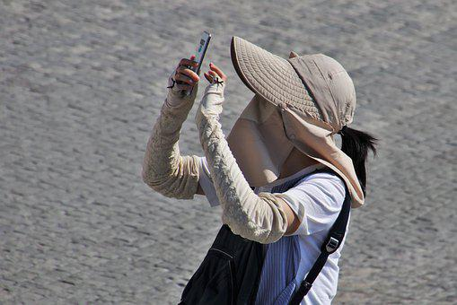 Selfie, Smartphone, Asian, Outside, Asia, Hat, Style