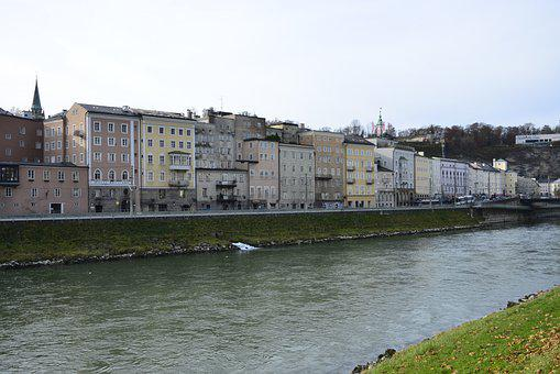 Salzburg, River, Reflection, City, Austria, Salzach