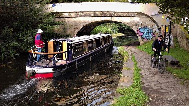 Boat, Channel, Bike, Nature