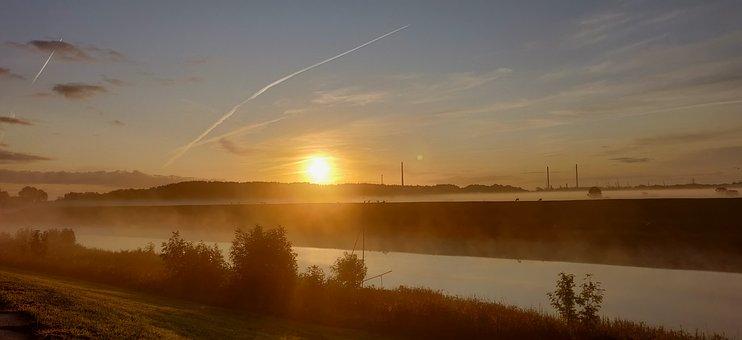 Morgenstimmung, Channel, Sky, Landscape, Water, Nature