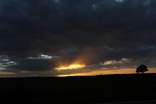 Sun, Sunset, Clouds, Landscape, Dusk, Dawn, Sunlight