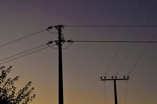 Sunset, Power Lines, Lines, Electricity, Energy