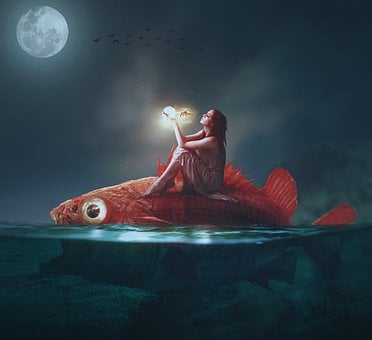 Fish, Girl, Mermaid, Woman, Fairy, Dream, Water
