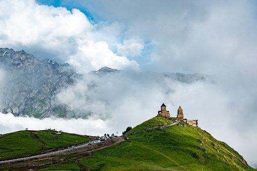 Church, Mountains, Clouds, Fog, Georgia, Haze, Mist
