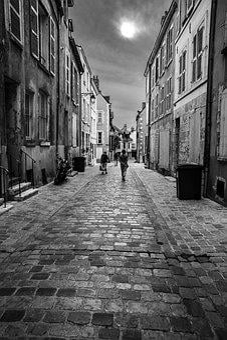 Street, Village, Black And White, Pedestrian, France