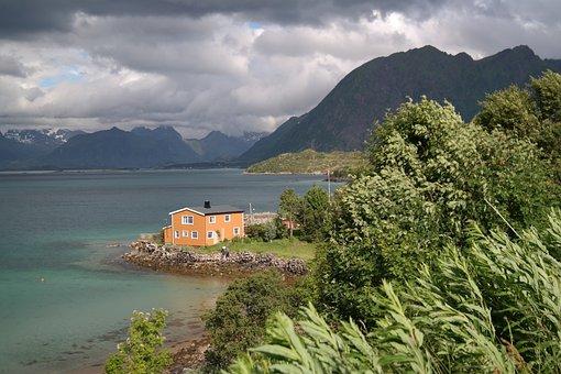 House, Landscape, Water, Mountains, Hut, Rock, Nature