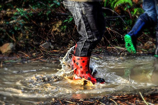 Boots, Shoes, Rain, Puddle, Water, Child, Wet, Fun, Kid