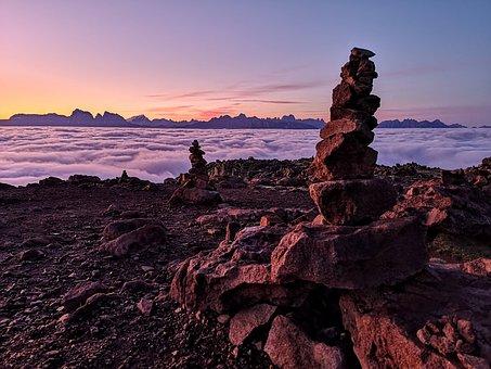 Mountain, Stonestacking, Stones, Alps, Dolomites, Stone