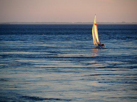 Sailing, Ship, Sea, Boat, Evening, Light, Nautical