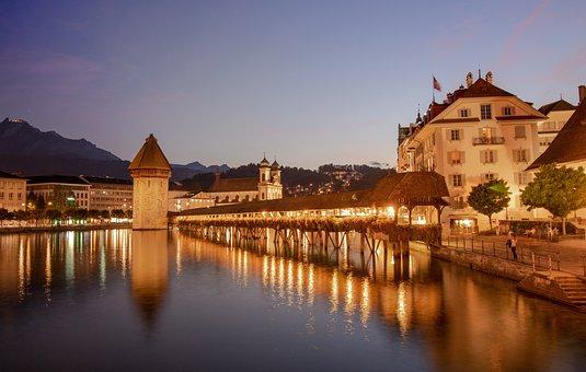 Lucerne, Chapel Bridge, Switzerland, Water Tower, City