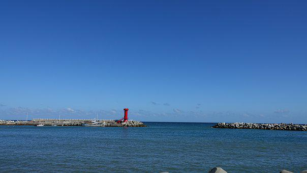 Sea, Lighthouse, The Current, Sky, Sunset, Ocean, Coast