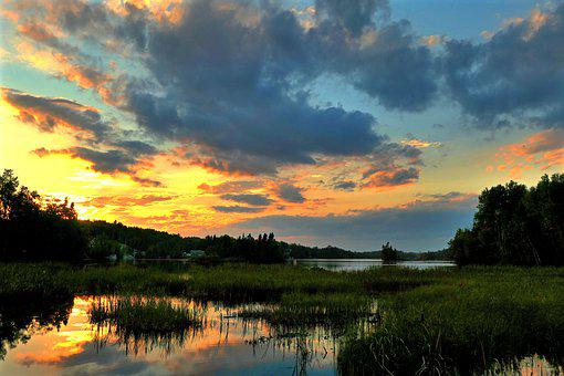 Sunset, Landscape, Nature, Sky, Colors, Water, Lake