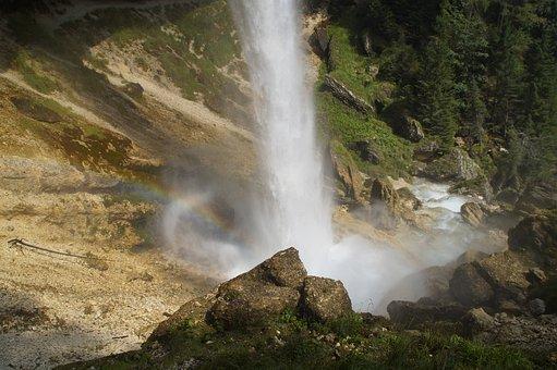 Waterfall, Spray, Water Jet, Water, Rainbow, Landscape