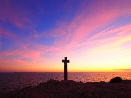 Sunset, Sea, Ocean, Cross, Water, Beach, Sky, Nature