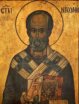 Icon, Orthodox, St, Nicolas, Greek, Old, Golden