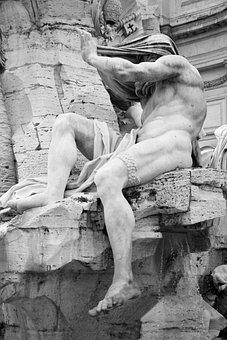 Piazza Navona, Fontana Dei Fiumi, Roman, Italy, Roma