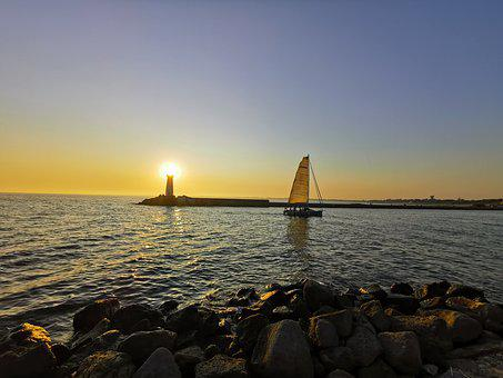 Sailboat, Sunset, Lighthouse, France, Coast, Port, Agde