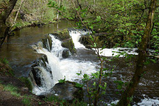 Waterfall, Wales, Brecon Beacons, Scenery, Cascade