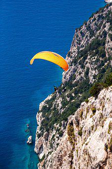 Paragliding, Parachute, Rocks, Sea, Wind, Danger, Wave
